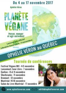 Affiche tournée au Québec Planète Végane Ophélie Véron